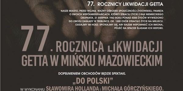 77 rocznica likwidacji getta w Mińsku Mazowieckim - plakat