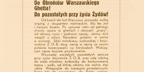 Powstanie Warszawskie, odezwa do Żydów