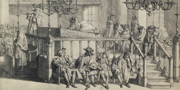 Dęcie w szofar w synagodze w Rosz ha-Szana Rycina Bernarda Picarda / 1724 r.