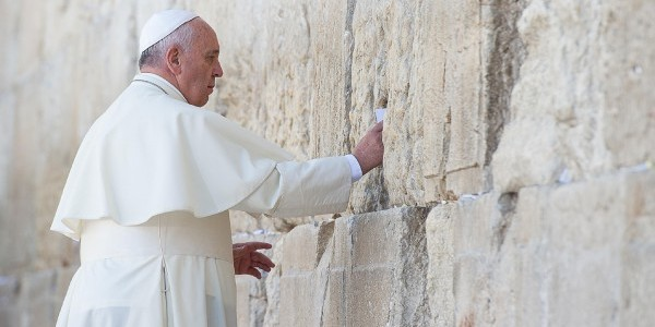 Pope Francis at the Western Wall in May 2014. Eric VANDEVILLE/Gamma-Rapho via Getty Images.