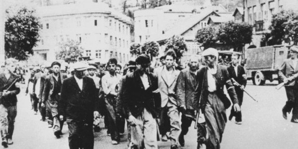 Lithuanian Militia Men Leading Jews to the Seventh Fort, Kovno, Lithuania, 25 June 1941