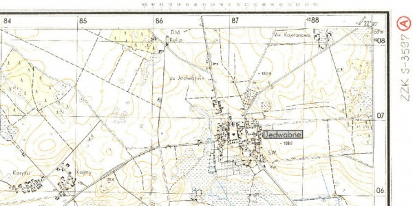 Jedwabne, na podstawie: fragment niemieckiej mapy wojskowej z 1944 r.  /  Polona