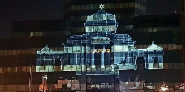 Wielka Synagoga wyświetlona na Błękitnym Wieżowcu (Fot. Materiały prasowe)