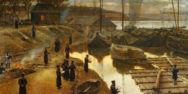"""Aleksander Gierymski na obrazie zatytułowanym """"Święto Trąbek"""" z roku 1880 pokazuje Taszlich nad brzegiem Wisły w Warszawie."""