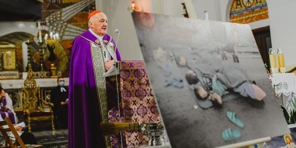 Kard. Kazimierz Nycz podczas modlitwy za uchodźców w warszawskim kościele św. Barbary 29 września 2020 roku. Fot. Wspólnota Sant'Egidio w Warszawie