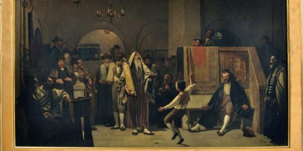 Obraz zatytułowany Simchat Tora (heb. Radość Tory) namalowany został przez Tadeusza Popiela pod koniec XIX w.