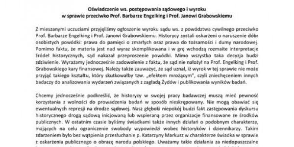 Oświadczenie Gminy Wyznaniowej Żydowskiej we Wrocławiu