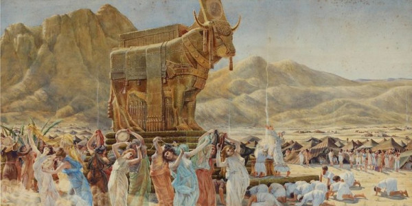 Henri-Paul Motte, (1846-1922): The Israelites dancing around the Golden Calf, Wikimedia Commons