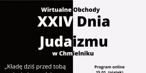 Obchody on-line Dnia Judaizmu w Świętokrzyskim Sztetlu w Chmielniku - fragment plakatut
