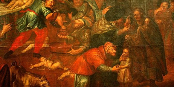 Obraz przedstawiający rzekomy mord rytualny z katedry w Sandomierzu autorstwa Karola de Prevot (XVIII w.)v
