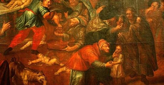 Obraz przedstawiający rzekomy mord rytualny z katedry w Sandomierzu autorstwa Karola de Prevot (XVIII w.)